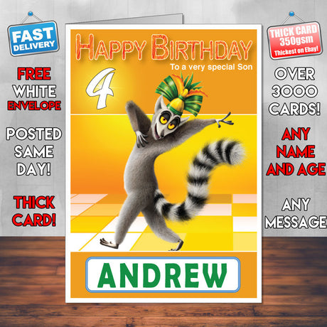 All Hail King Julien 1 Style Theme Personalised Kidshows Birthday Card (SA)
