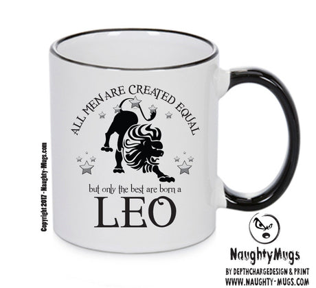 All Men Are Created Equal Leo FUNNY Gift Office Mug Funny Humour