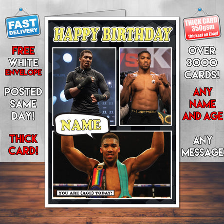 Anthony Joshua KE Inspired Style Personalised Boxing Card New 2017