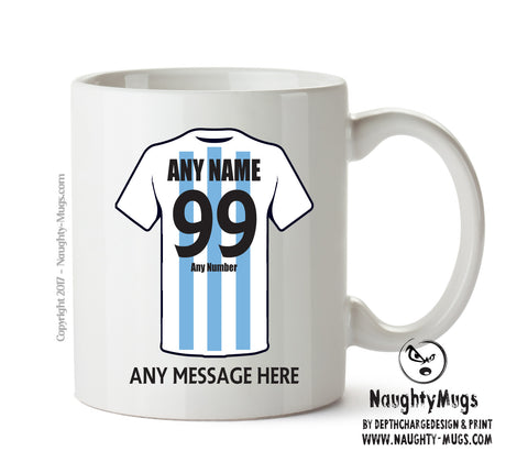 Argentina INSPIRED Football Team Mug Personalised Birthday Age And Name