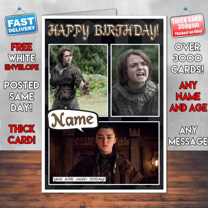 Arya Stark Personalised Inspired Style Game Of Thrones Birthday Card