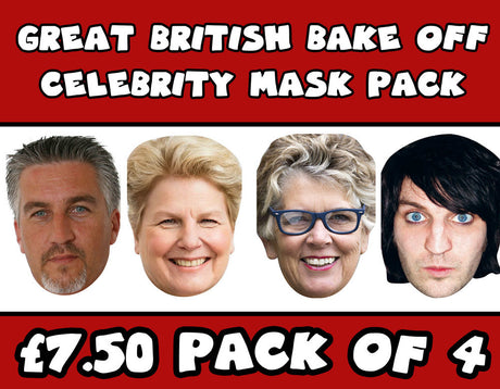 Great British Bake Off Celebrity Face Mask FANCY DRESS HEN BIRTHDAY PARTY FUN STAG DO HEN PACK All 4 Judges