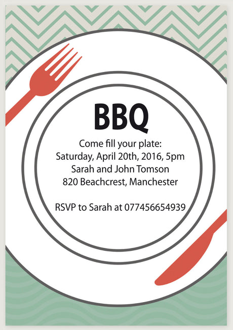 10 X Personalised Printed Summer BBQ Plate INSPIRED STYLE Invites