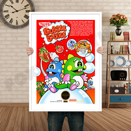BUBBLE BOBBLE Retro GAME INSPIRED THEME Nintendo NES Gaming A4 A3 A2 Or A1 Poster Art 82