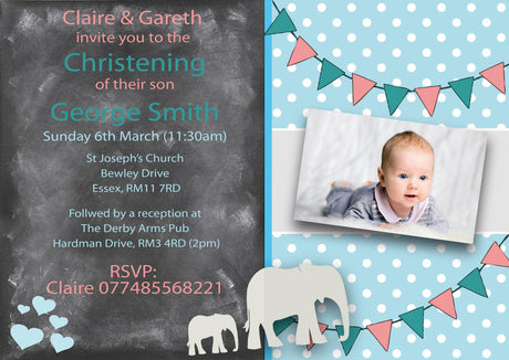 10 X Personalised Printed Baby Boy 2 Christening INSPIRED STYLE Invites