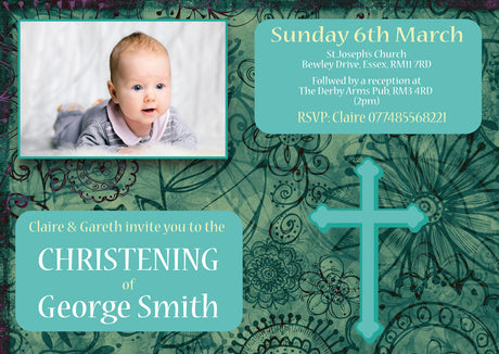 10 X Personalised Printed Baby Boy 3 Christening INSPIRED STYLE Invites