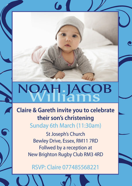 10 X Personalised Printed Baby Boy Christening INSPIRED STYLE Invites