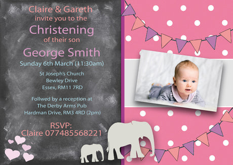 10 X Personalised Printed Baby Girl 2 Christening INSPIRED STYLE Invites