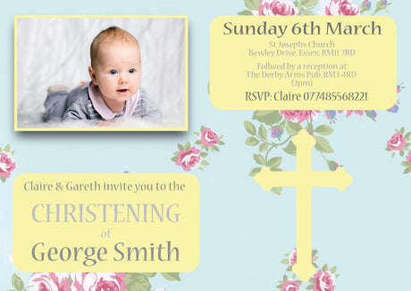 10 X Personalised Printed Baby Girl 3 Christening INSPIRED STYLE Invites