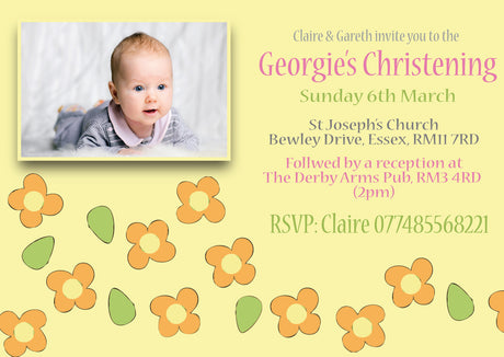 10 X Personalised Printed Baby Girl 4 Christening INSPIRED STYLE Invites