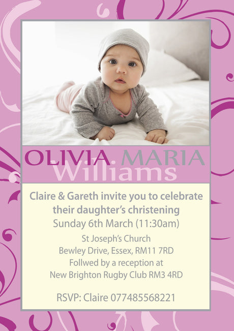10 X Personalised Printed Baby Girl Christening INSPIRED STYLE Invites