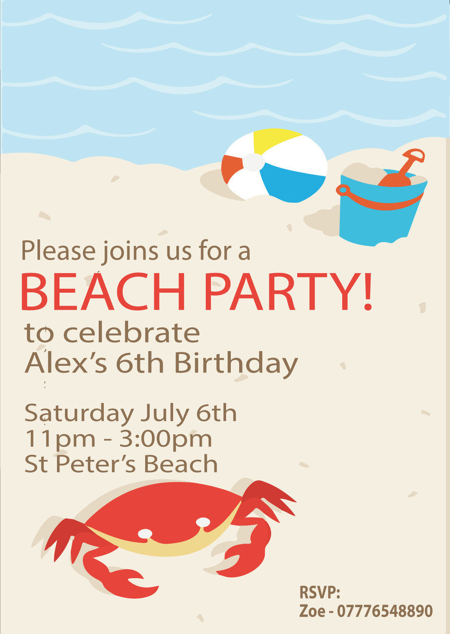 10 X Personalised Printed Beach Party 2 INSPIRED STYLE Invites ...