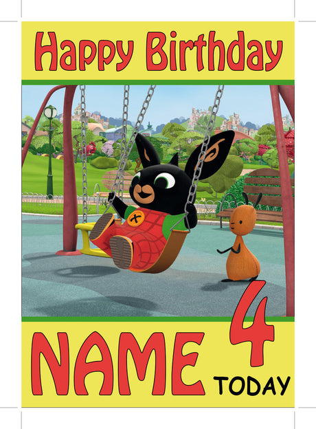 Bing Card 2 THEME INSPIRED Kids Adult Personalised Birthday Card Birthday Card