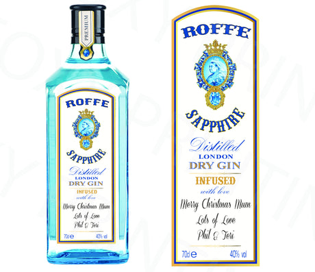 PERSONALISED Bombay Sapphire Gin Bottle Label Valentine Birthday Wedding Graduation Gift