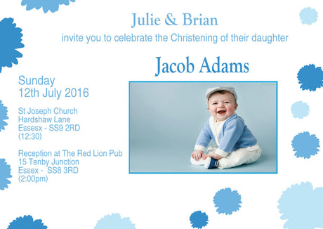 10 X Personalised Printed Boys Blue Flower Christening INSPIRED STYLE Invites
