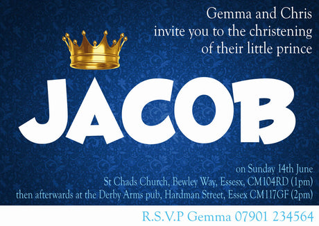10 X Personalised Printed Boys Prince Christening INSPIRED STYLE Invites