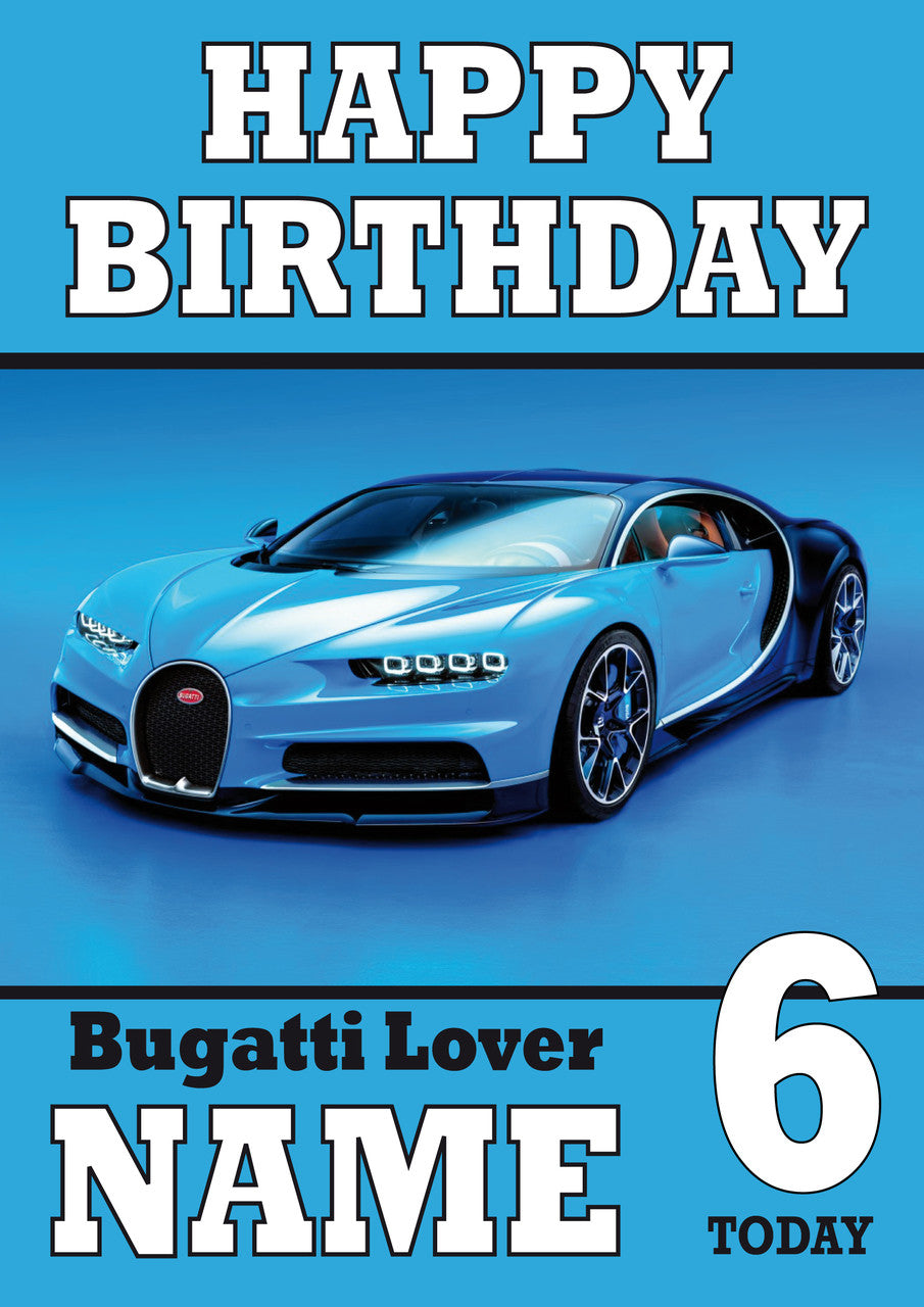 Personalised Bugatti Sports Car THEME INSPIRED Style PERSONALISED Kids Adult FUNNY Birthday Card