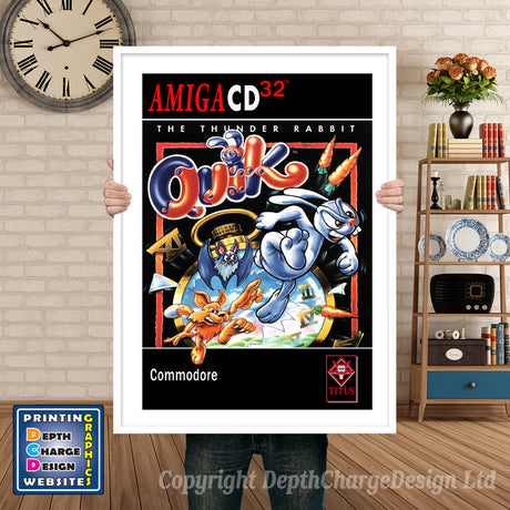 QUICK THE THUNDER RABBIT Atari Inspired Retro Gaming Poster A4 A3 A2 Or A1