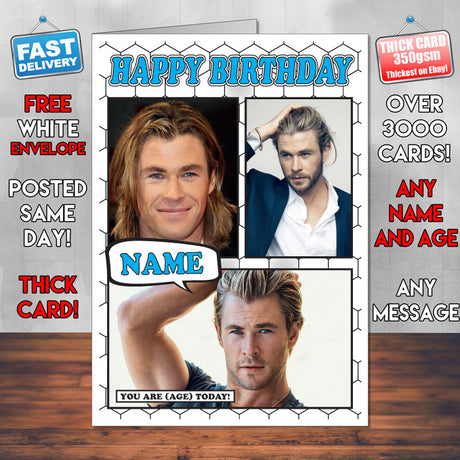 Chris Hemsworth Personalised Celebrity Birthday Card New 2017