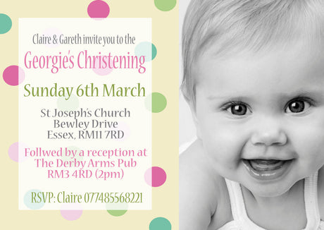 10 X Personalised Printed Christening Spotty INSPIRED STYLE Invites