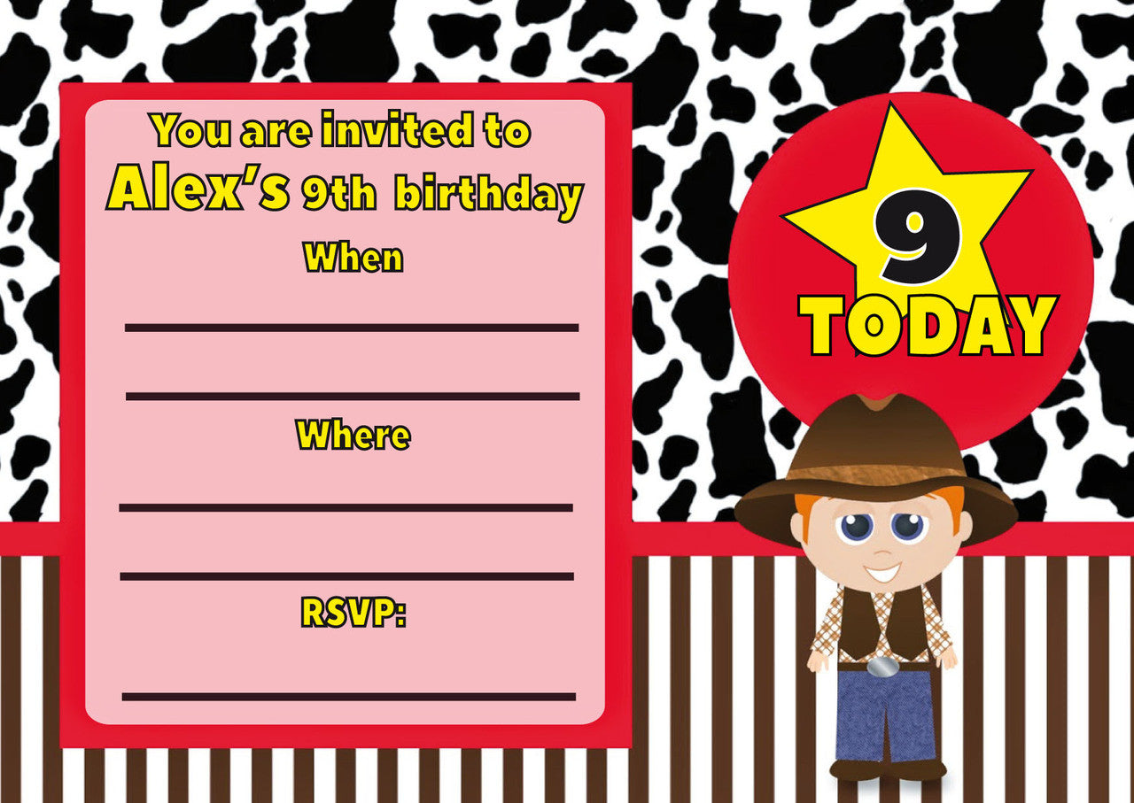 10 X Personalised Printed Boys Cowboy INSPIRED STYLE Invites | Foxy ...