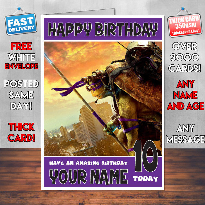 DONATELLO TMNT BM1 THEME INSPIRED Style PERSONALISED Kids Adult FUNNY Birthday Card