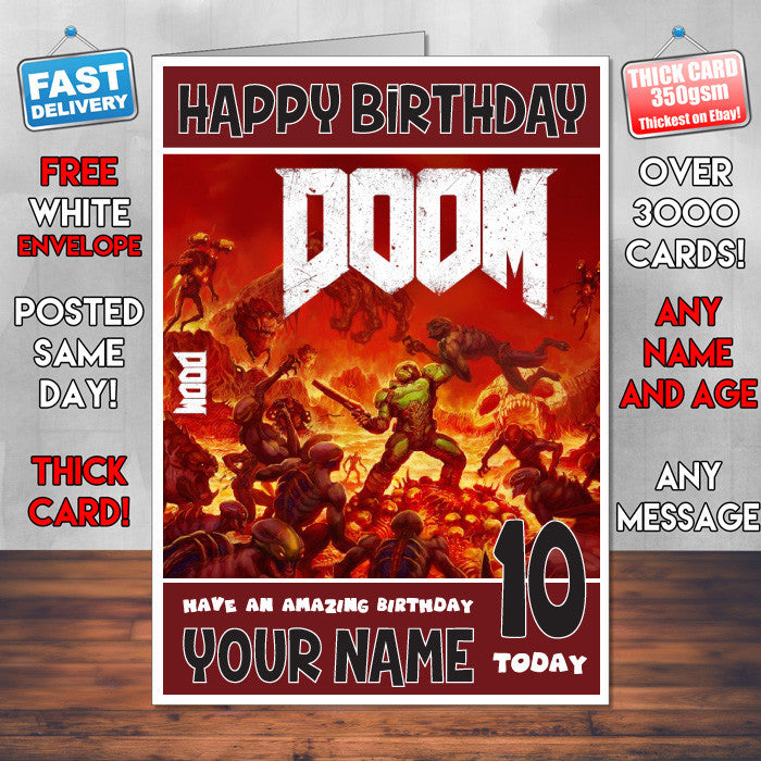 DOOM BM 1 THEME INSPIRED Style PERSONALISED Kids Adult FUNNY Birthday Card