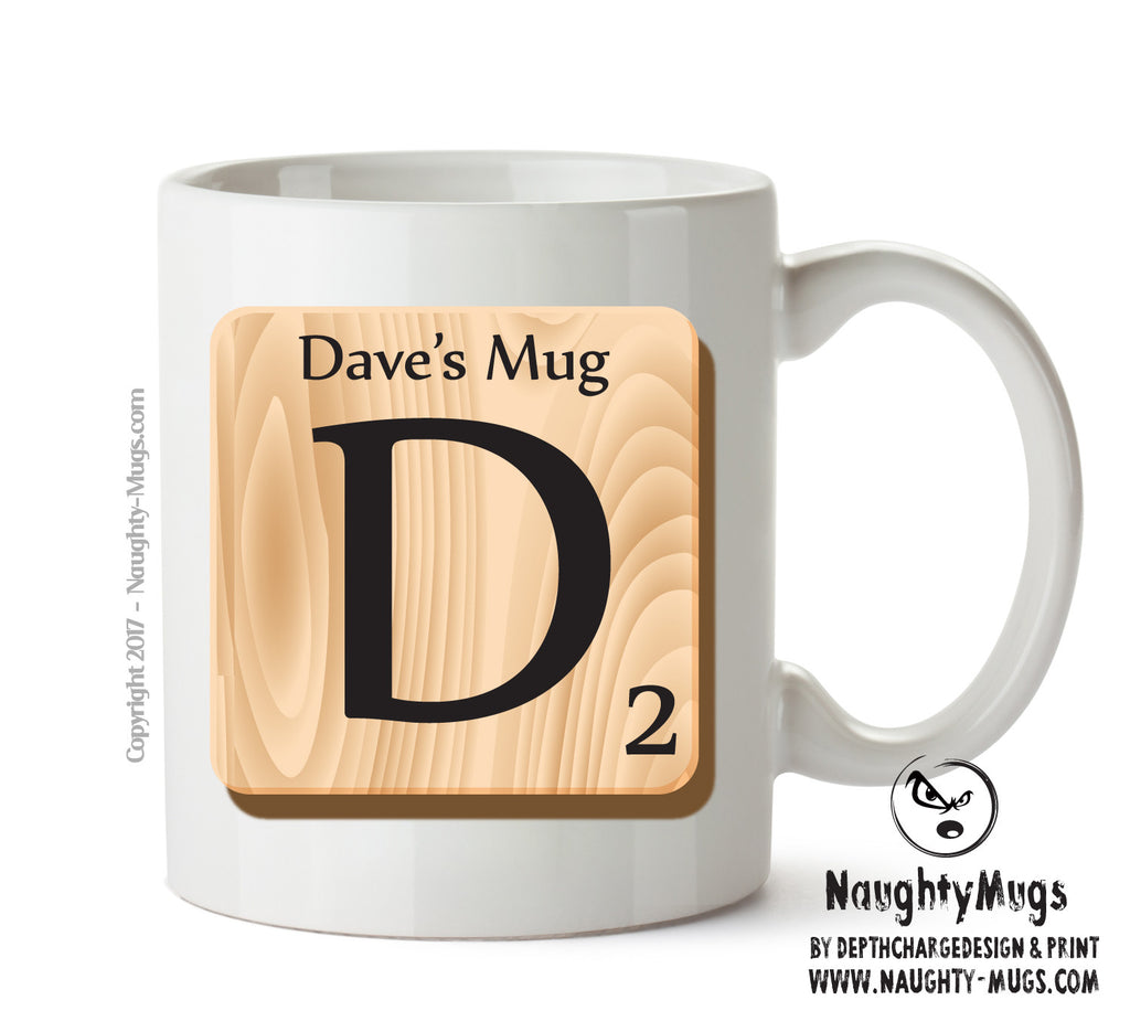 "Initial ""D"" Your Name Scrabble Mug FUNNY Gift Office Mug Funny Humour"