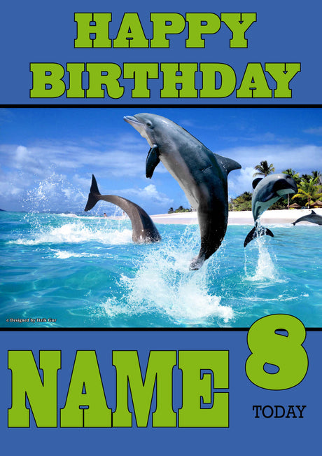 Personalised Dolphin Kids Adult FUNNY Birthday Card 2