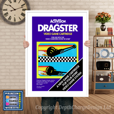 Dragster - Atari 2600 Inspired Retro Gaming Poster A4 A3 A2 Or A1
