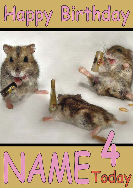 Drunken Hamsters Funny Kids Adult Personalised Birthday Card Gift Present