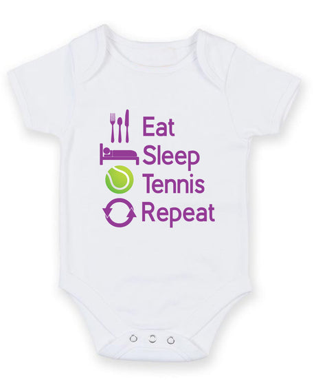 Eat Sleep Tennis Repeat Printed Baby Grow Bodysuit Boy Girl Unisex Gift