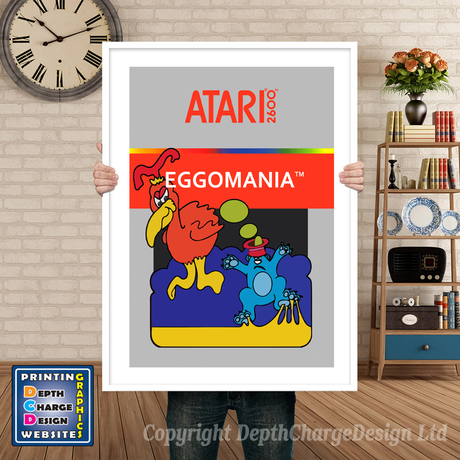 Eggo Mania - Atari 2600 Inspired Retro Gaming Poster A4 A3 A2 Or A1