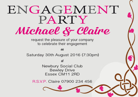10 x personalised printed engagement party 3 inspired style invites