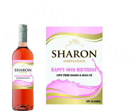 PERSONALISED Rose Wine Bottle Label Valentine Birthday Wedding Graduation Gift