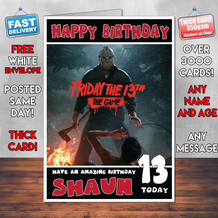 FRIDAY THE 13TH BM THEME INSPIRED Style PERSONALISED Kids Adult FUNNY Birthday Card