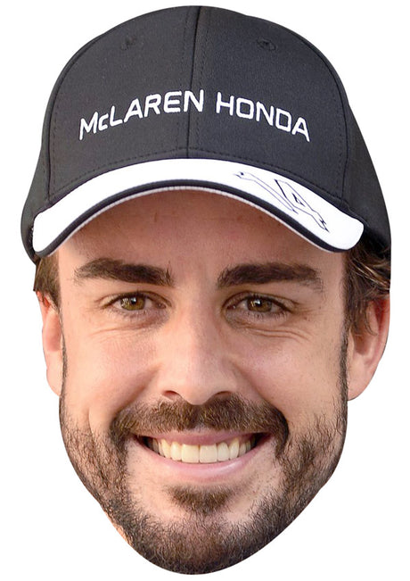FERNANDO ALONSO CAP 01 JB - Formula 1 Driver Fancy Dress Cardboard Celebrity Party Stag Birthday Idea Fancy Dress Face mask