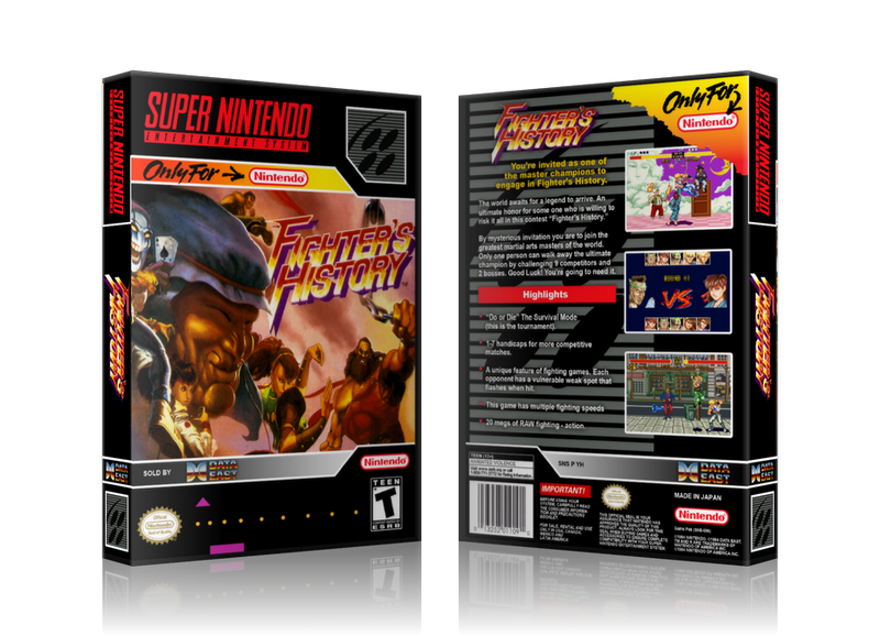 Fighters History Replacement Nintendo SNES Game Case Or Cover