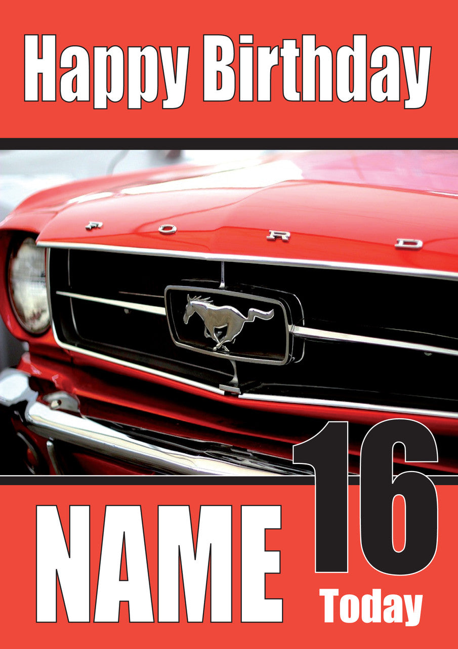 Happy Birthday Ford Mustang Red Cars Foxy Printing Personalised
