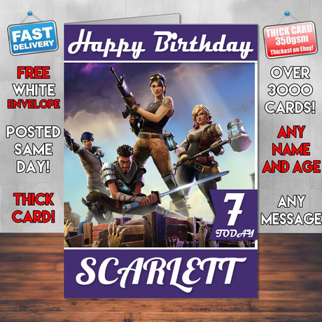 Fortnite G5 Inspired Style Game Kids Inspired Birthday Card (SA)