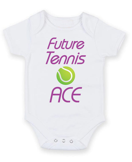 Future Tennis Ace Printed Baby Grow Bodysuit Boy Girl Unisex Gift
