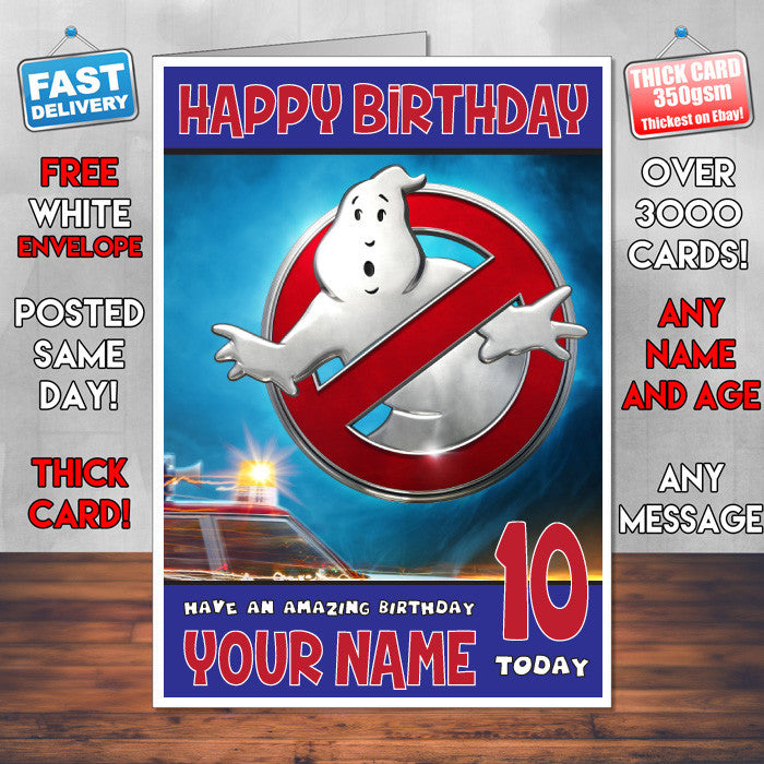 GHOSTBUSTERS BM2 THEME INSPIRED Style PERSONALISED Kids Adult FUNNY Birthday Card
