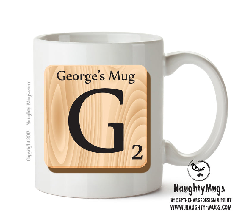 "Initial ""G"" Your Name Scrabble Mug FUNNY Gift Office Mug Funny Humour"