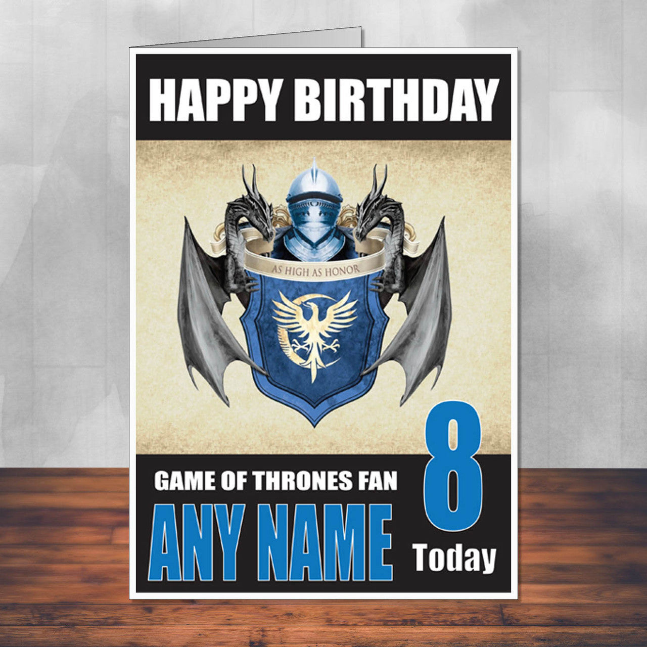 Game Of Thrones Design 8 THEME INSPIRED Style PERSONALISED Kids Adult FUNNY Birthday Card