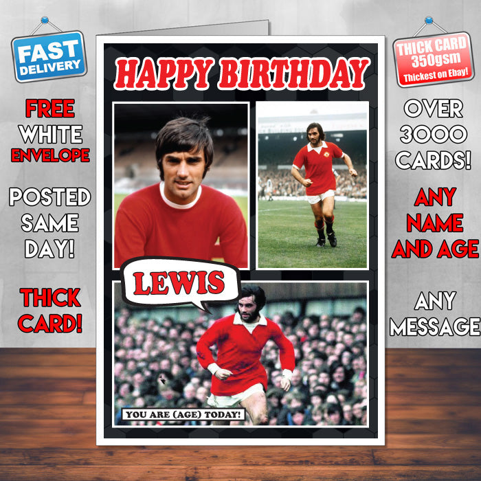 George Best Man U Inspired Style Personalised Football Card New 2017