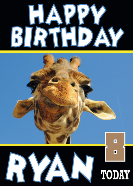 Giraffe Funny New Birthday Card Funny Kids Adult Personalised Birthday Card