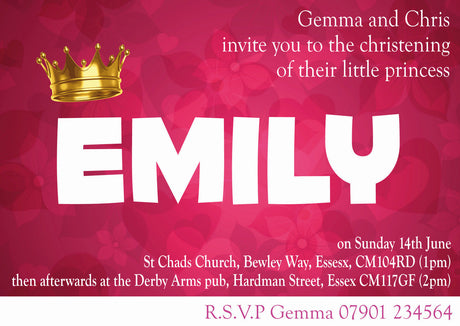 10 X Personalised Printed Girls Princess Christening INSPIRED STYLE Invites Party Supplies