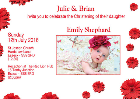 10 X Personalised Printed Girls Red Flower Christening INSPIRED STYLE Invites
