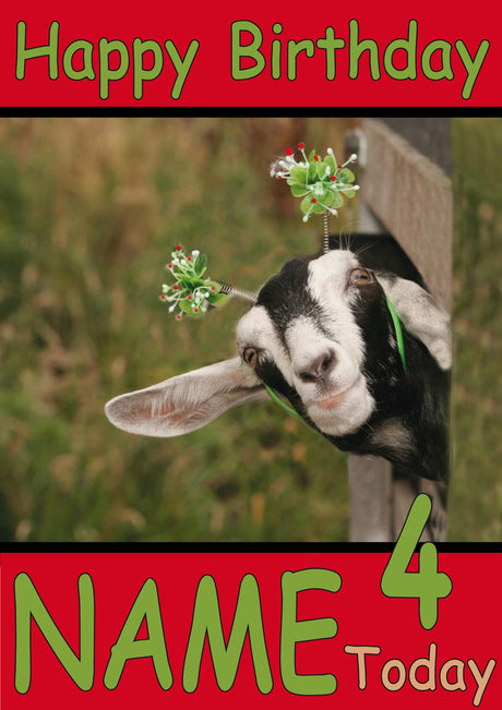 Goat With Head Through Fence Funny Kids Adult Personalised Birthday Card Gift Present