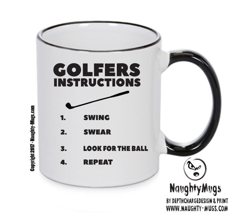 Golfers Instructions  Mug Adult Mug Gift Office Mug Funny Humour Xmas Gift